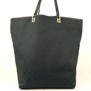 Auth Gucci Gg Tote Bag Black Canvas #2125G11